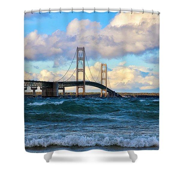 Mackinac Among The Waves Shower Curtain