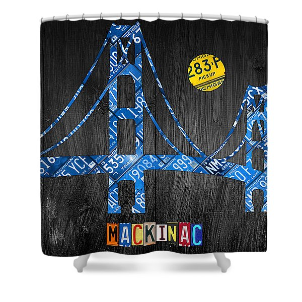 Mackinac Bridge Michigan License Plate Art Shower Curtain