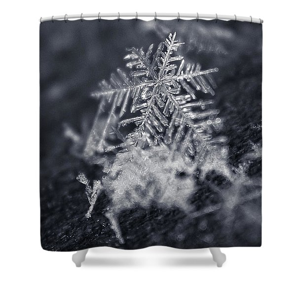 Macro Snowflake Shower Curtain