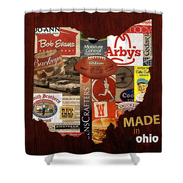 Made In Ohio Products Vintage Map On Wood Shower Curtain