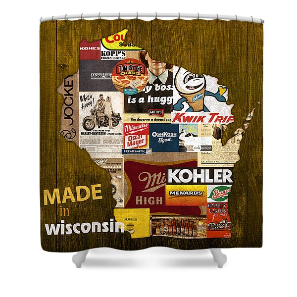 Made In Wisconsin Products Vintage Map On Wood Shower Curtain
