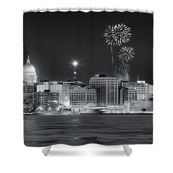 Madison - Wisconsin -  New Years Eve Panorama Black And White Shower Curtain