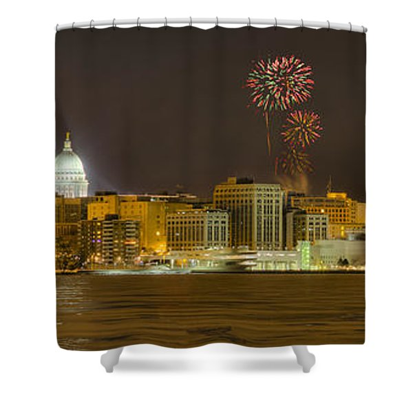 Madison Skyline New Years Eve Shower Curtain