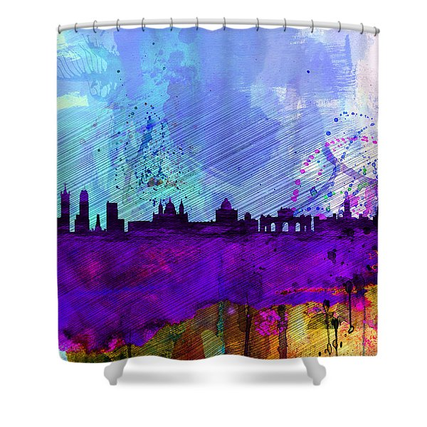 Madrid Watercolor Skyline Shower Curtain