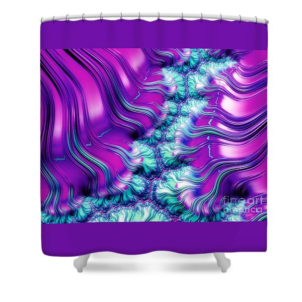 Magenta And Aqua Soft Fractal Abstract Shower Curtain