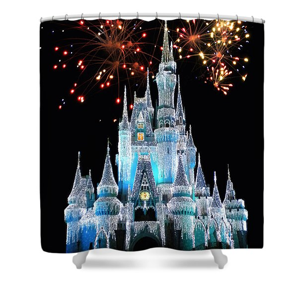 Magic Kingdom Castle In Frosty Light Blue With Fireworks 03 Shower Curtain