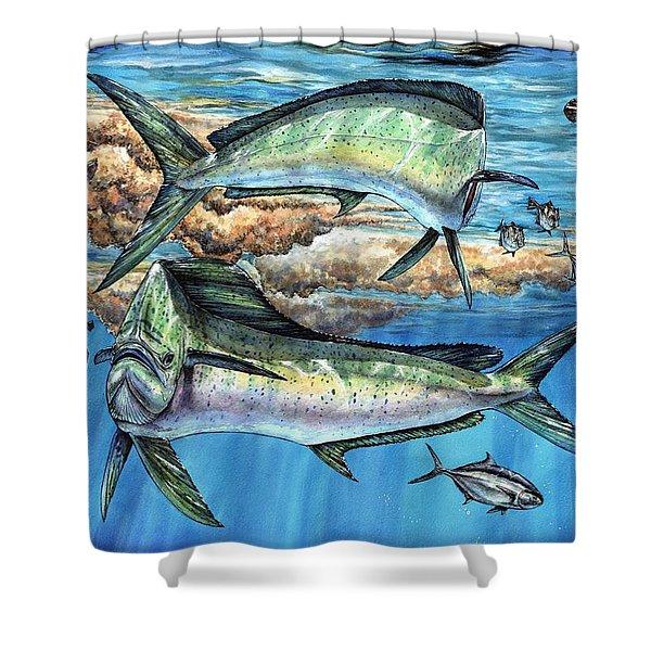 Magical Mahi Mahi Sargassum Shower Curtain