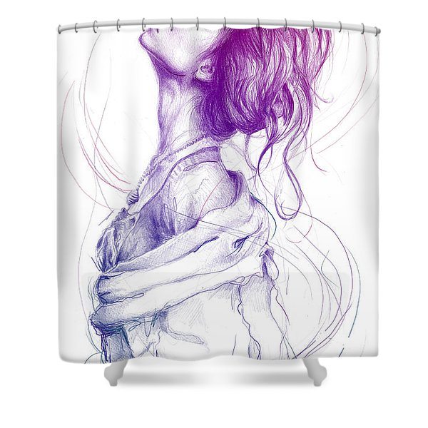 Purple Fashion Illustration Shower Curtain