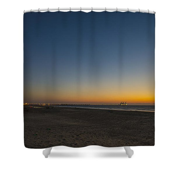 magical sunset moments at Caesarea  Shower Curtain