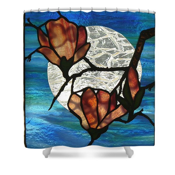 Shower Curtain featuring the glass art Magnolia by Karin Thue