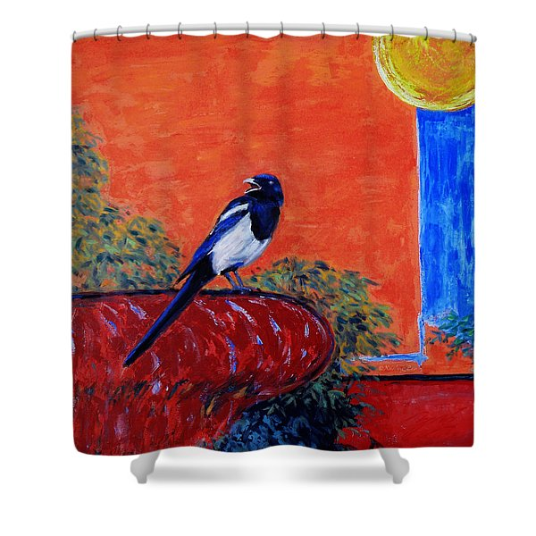 Magpie Singing At The Bath Shower Curtain