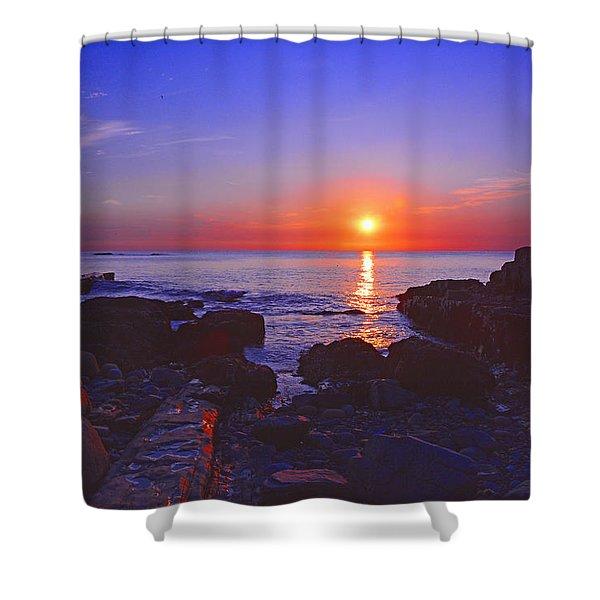 Maine Coast Sunrise Shower Curtain