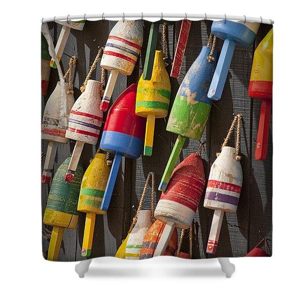 Maine Fishing Buoys Shower Curtain