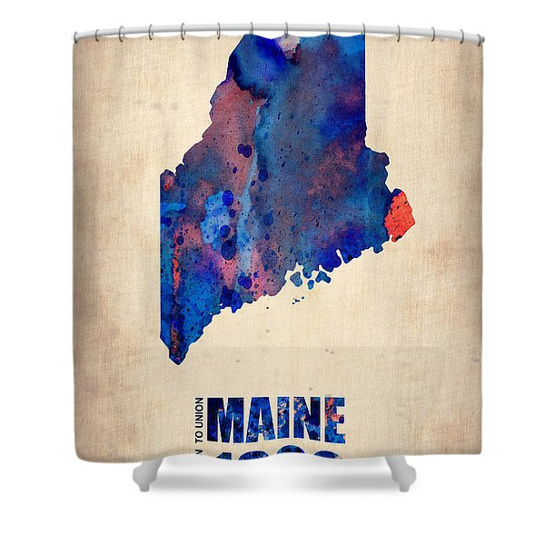 Maine Watercolor Map Shower Curtain