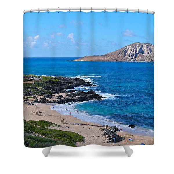Makapuu Beach With Rabbit Island Shower Curtain