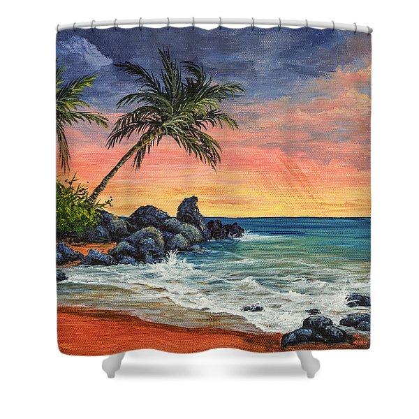 Makena Beach Sunset Shower Curtain
