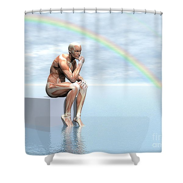 Male Musculature Sitting On A Cube Shower Curtain