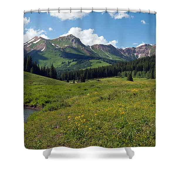 Man Fly-fishing In Slate River, Crested Shower Curtain