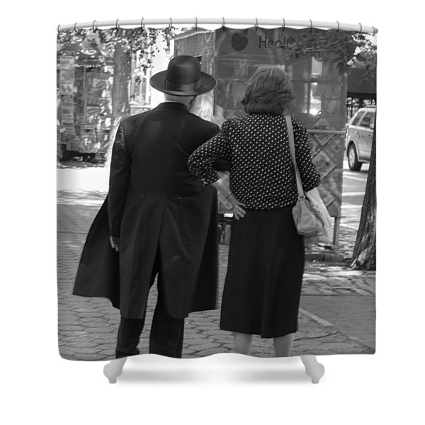 Man Hat And Woman Shower Curtain