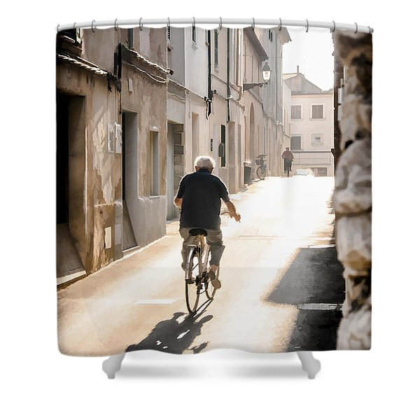 Man Riding Bicycle In Street In Puerto Pollenca Shower Curtain