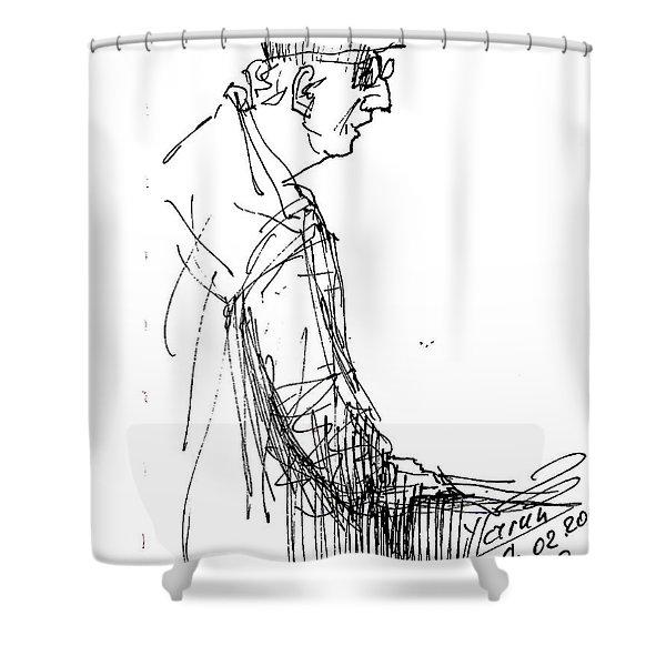 Man Standing Shower Curtain