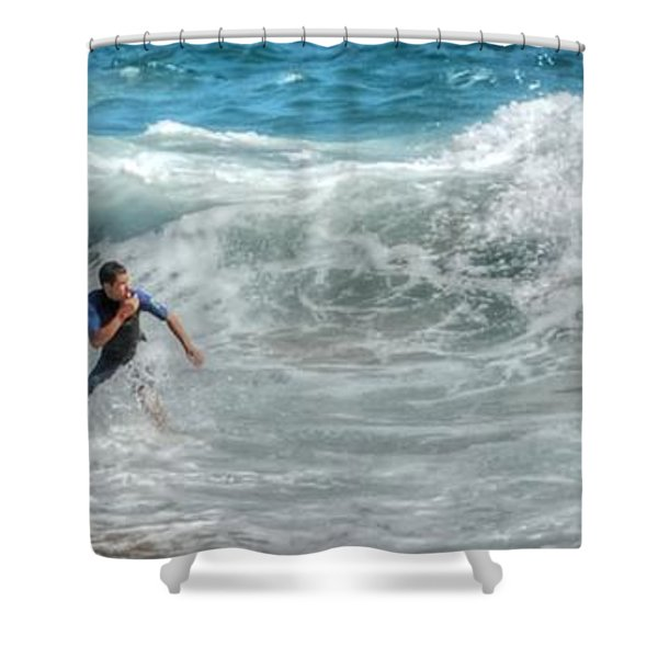 Man Vs Wave Shower Curtain