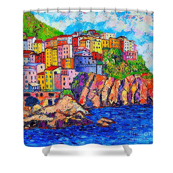 Manarola Cinque Terre Italy Detail Shower Curtain