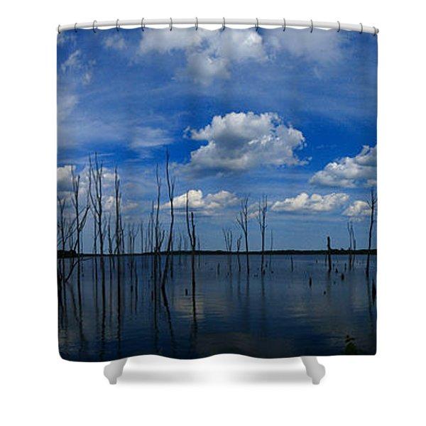 Manasquan Reservoir Panorama Shower Curtain