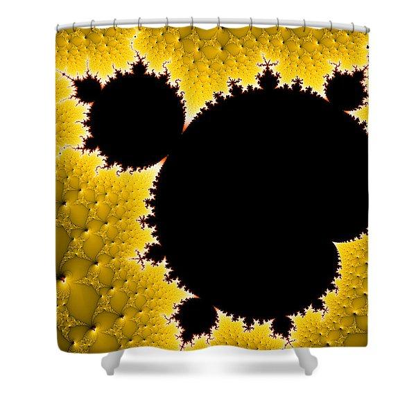Mandelbrot Set Black And Yellow Fractal Art Shower Curtain