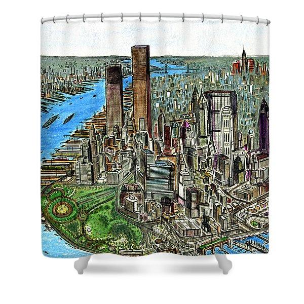 New York Downtown Manhattan 1972 Shower Curtain