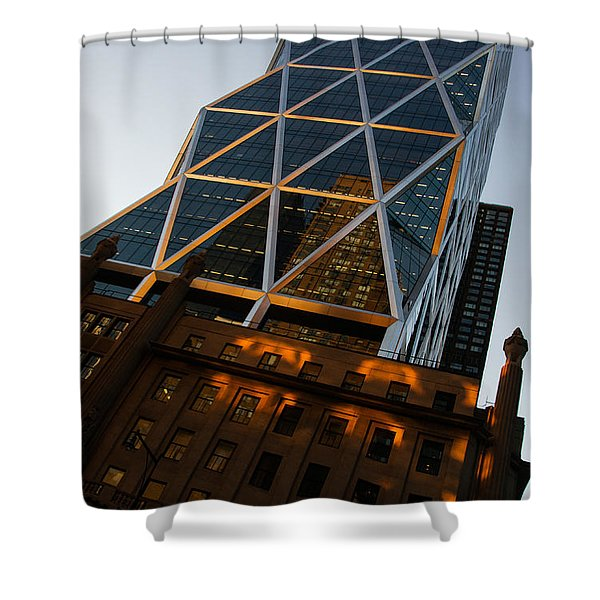 Manhattan Blues And Oranges Shower Curtain