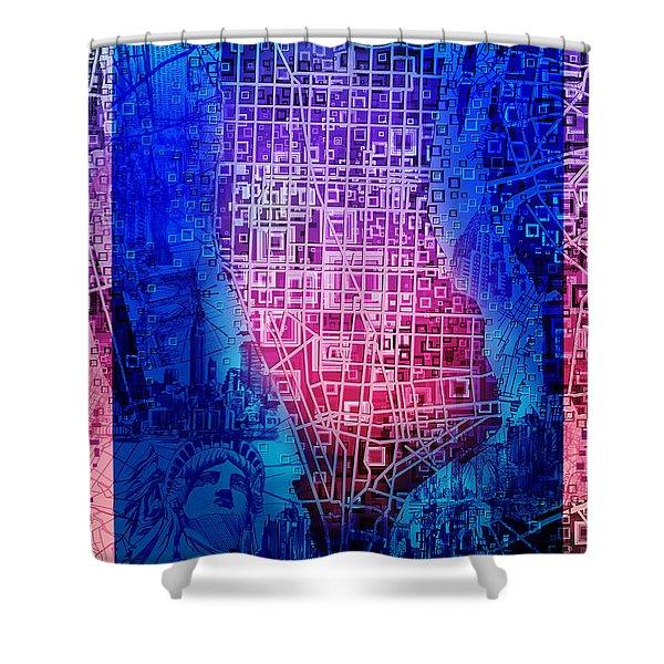 Manhattan Map Abstract 5 Shower Curtain