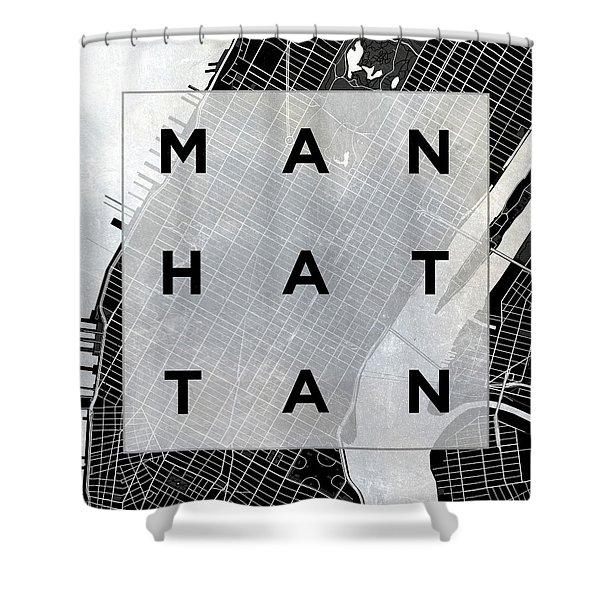 Manhattan Square Bw Shower Curtain