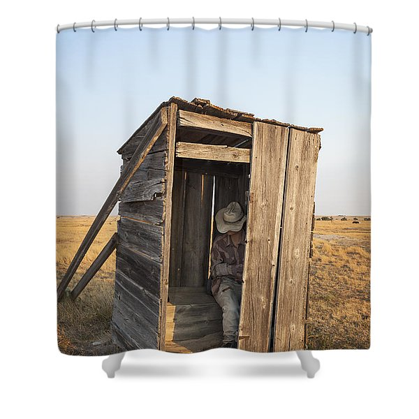 Shower Curtain featuring the photograph Mannequin Sitting In Old Wooden Outhouse by Bryan Mullennix