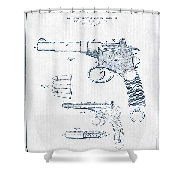 Mannlicher Pistol Patent Drawing From 1897  -  Blue Ink Shower Curtain
