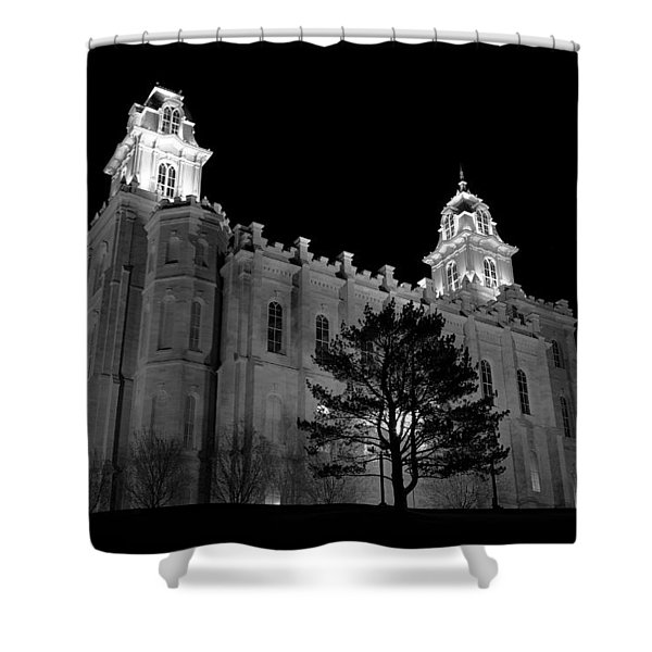 Manti Temple Black And White Shower Curtain