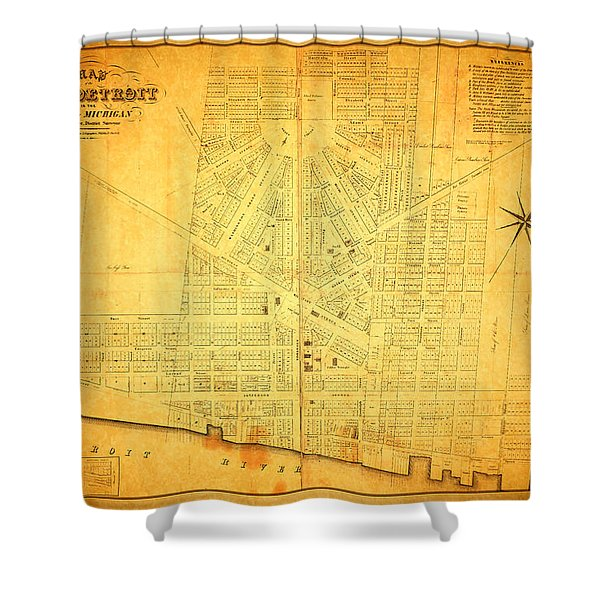 Map Of Detroit Michigan C 1835 Shower Curtain