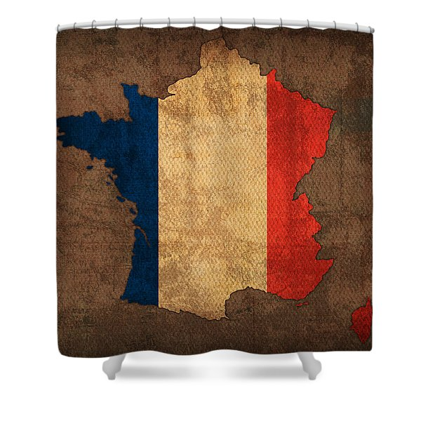 Map Of France With Flag Art On Distressed Worn Canvas Shower Curtain