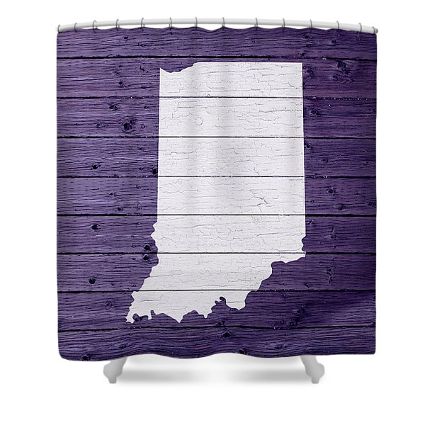 Map Of Indiana State Outline White Distressed Paint On Reclaimed Wood Planks Shower Curtain