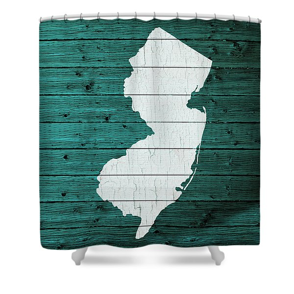 Map Of New Jersey State Outline White Distressed Paint On Reclaimed Wood Planks Shower Curtain