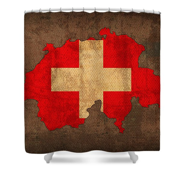 Map Of Switzerland With Flag Art On Distressed Worn Canvas Shower Curtain