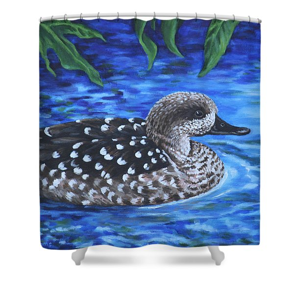 Marbled Teal Duck On The Water Shower Curtain