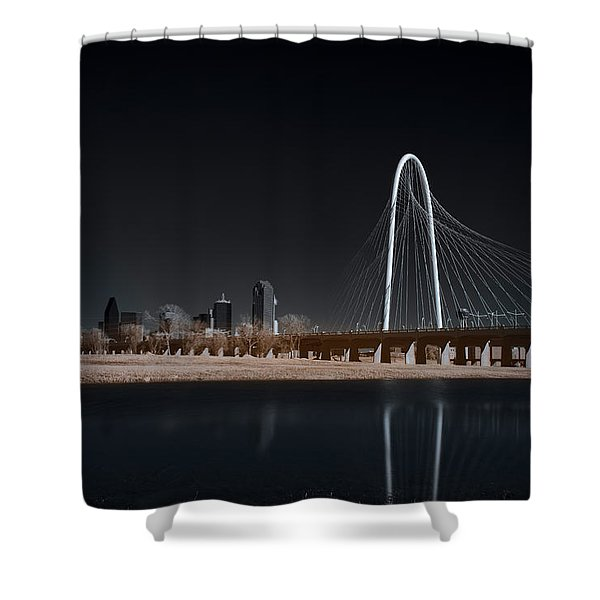 Margaret Hunt Hill Bridge And Dallas Skyline In Infrared Shower Curtain