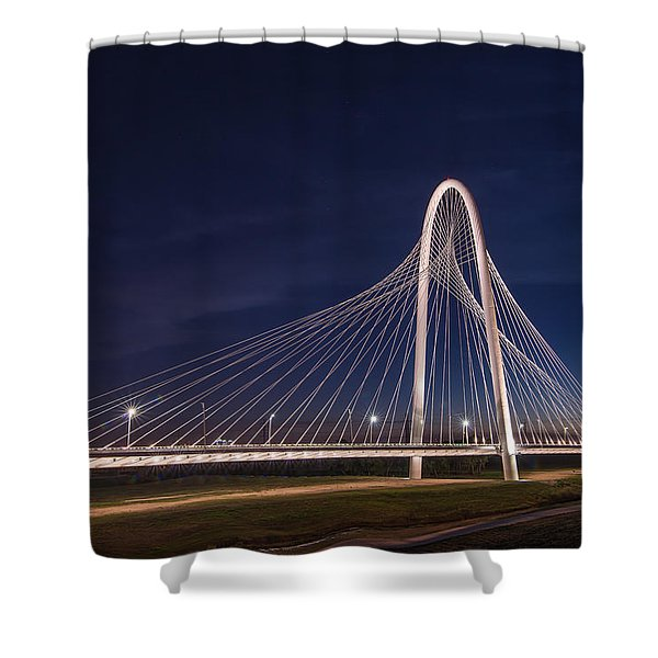 Margaret Hunt Hill Bridge In Dallas At Night Shower Curtain