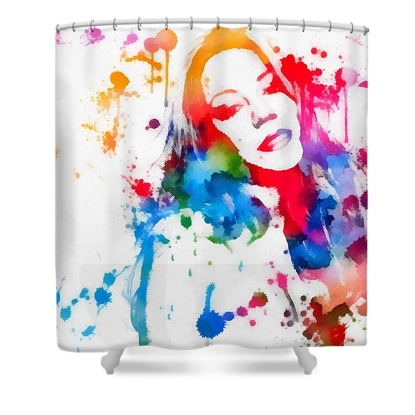 Mariah Carey Watercolor Paint Splatter Shower Curtain
