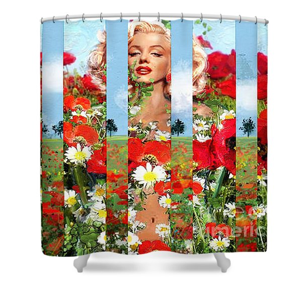 Marilyn In Poppies 1 Shower Curtain