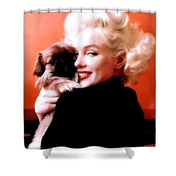Marilyn Monroe And Pekingese Portrait Shower Curtain