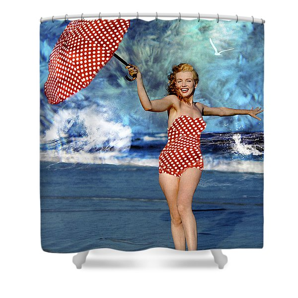 Marilyn Monroe - On The Beach Shower Curtain