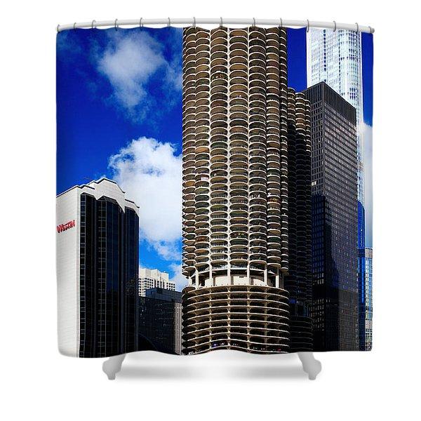 Marina City Corncob Tower Shower Curtain
