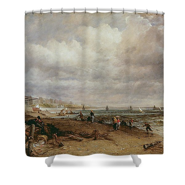 Marine Parade And Old Chain Pier, 1827 Oil On Canvas Shower Curtain